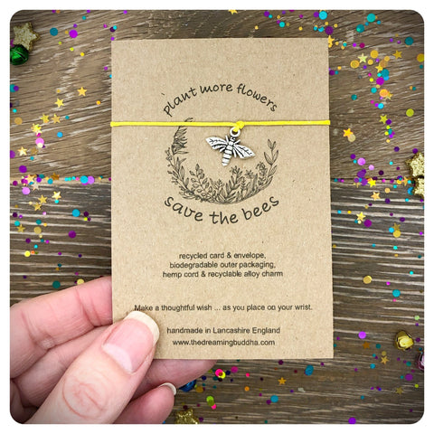 Save The Bees Wish Bracelet, Environmental Card