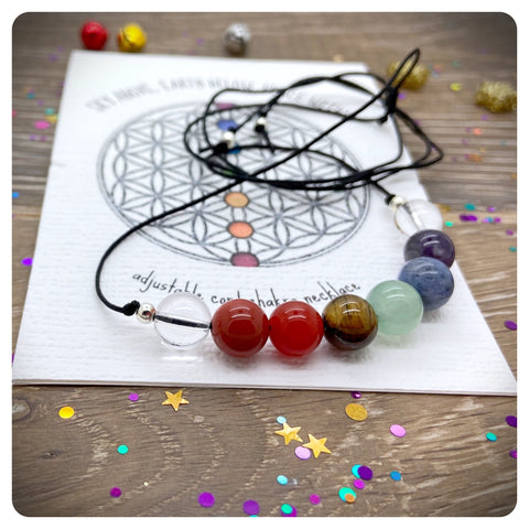 Adjustable 7 Chakra Necklace, Gemstone Necklace