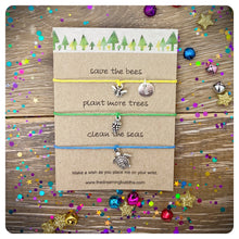 Vegan Environmental Wish Bracelet, Earth Day Card