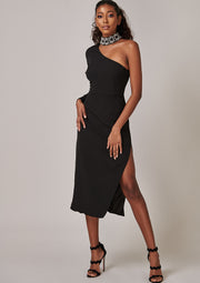 Virgos Lounge Black Jewelled Halter Neck One Sleeve Midi Dress with slit