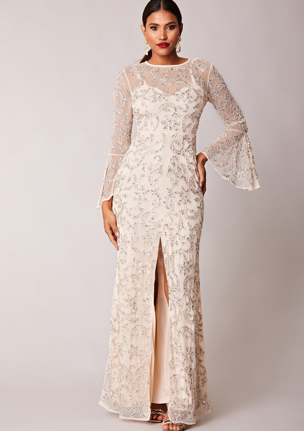 Virgos Lounge Statement Long Sleeve Ivory Embellished Maxi Dress with Slit