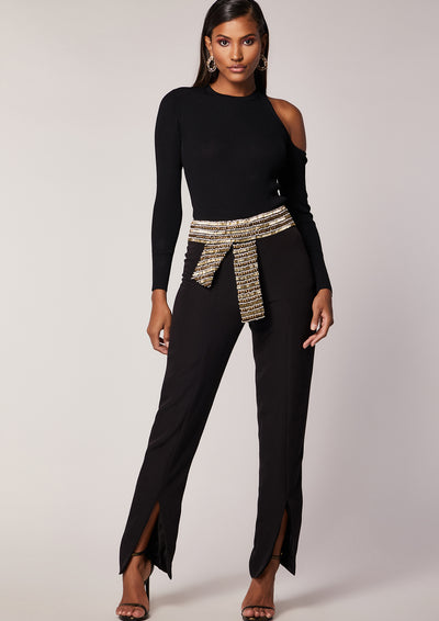 VIRGOS LOUNGE BLACK FRONT SPLIT TROUSERS WITH EMBELLISHED BELT