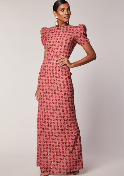 VIRGOS LOUNGE FLORAL EMBELLISHED MAXI DRESS WITH PUFFED SLEEVES