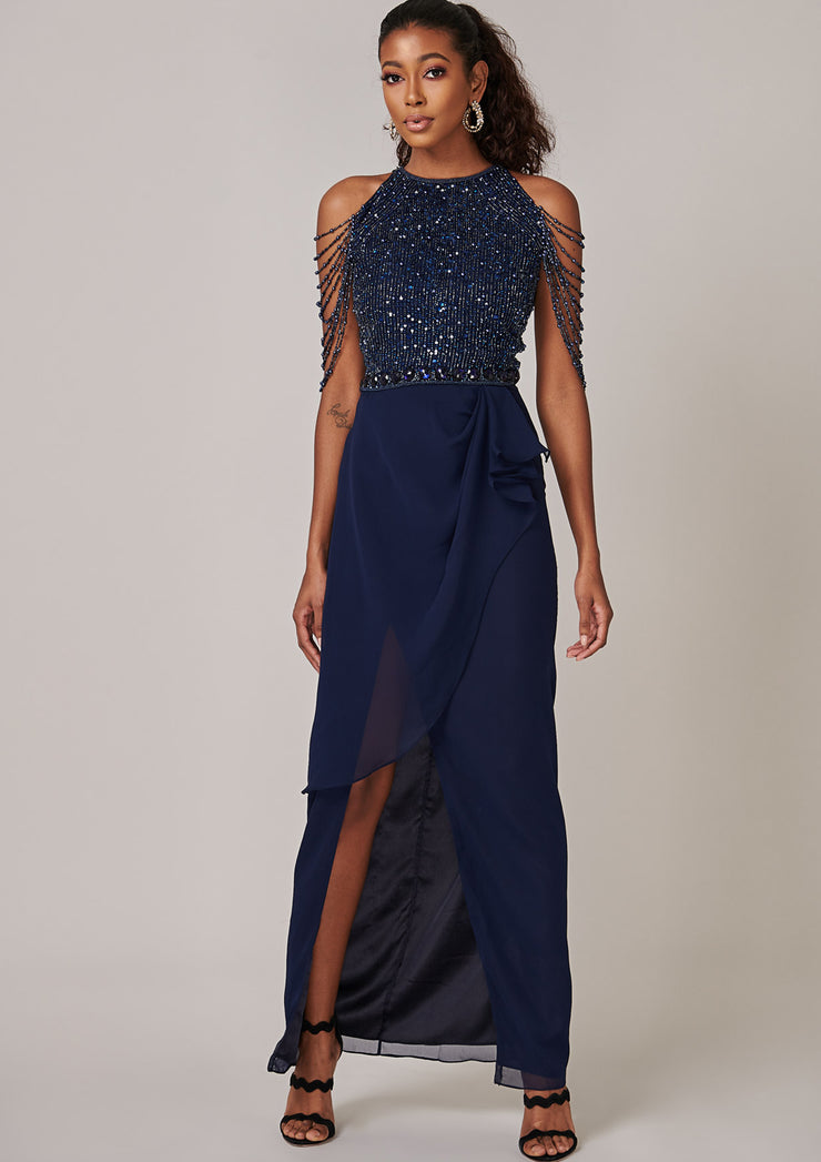 VIRGOS LOUNGE NAVY HALTER NECK MAXI DRESS WITH EMBELLISHED SLEEVES