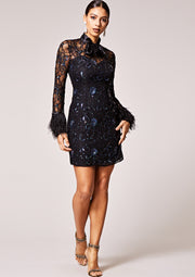 VIRGOS LOUNGE BLACK EMBELLISHED MIDI DRESS WITH LONG SLEEVES FEATURING FEATHER CUFF