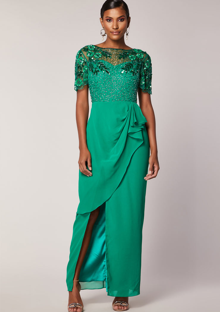 VIRGOS LOUNGE CLASSIC EMBELLISHED GREEN MAXI DRESS WITH RUFFLES AND THIGH HIGH SLIT