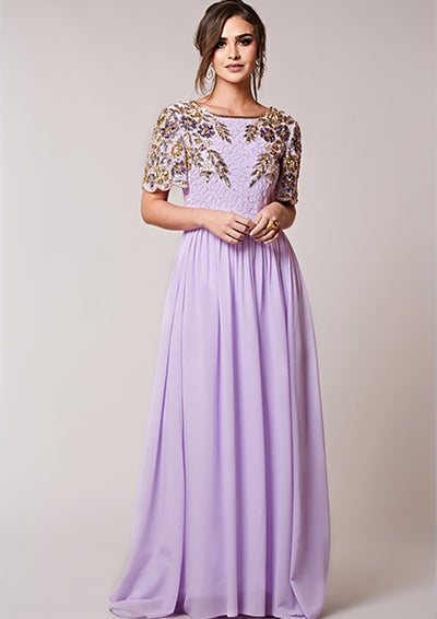 CUSTOM BRIDESMAID Ariann Full Maxi Lilac
