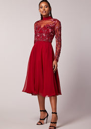 Coley Midi Dress Red