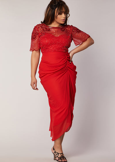 CURVE Denise Dress Red Sheer