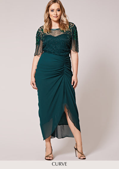 CURVE Denise Dress Green Sheer
