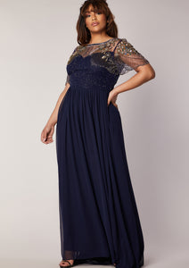 CURVE Raina Navy Dress Sheer