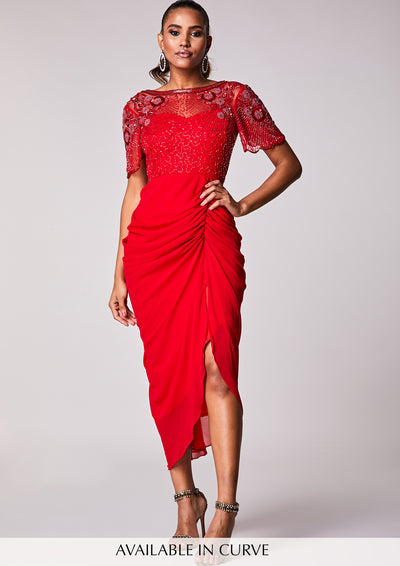 Denise Dress Red Sheer