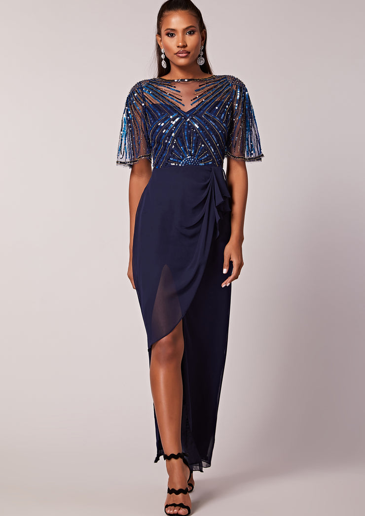 Donatella Wrap Dress Navy