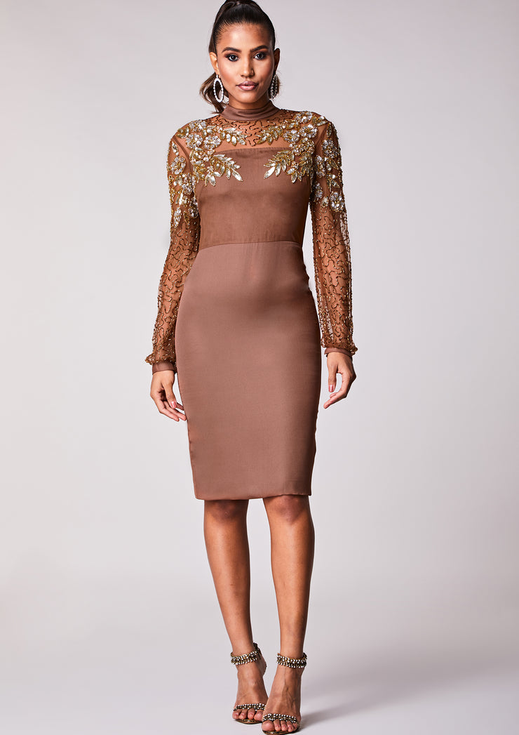 Brown Sheath Dress