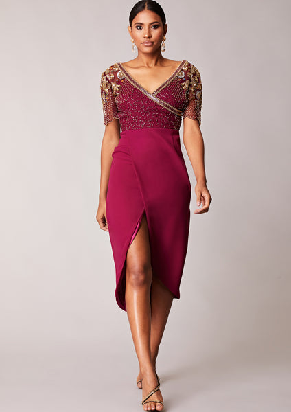 Julisa Dress Maroon Sheer