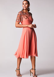 Rahaya Dress Skater Peach