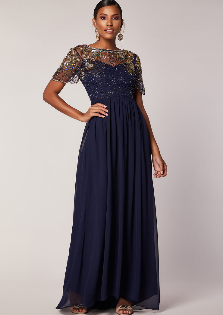 CUSTOM BRIDESMAID Raina Navy Dress Sheer