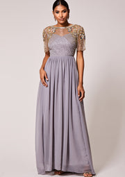 Raina Dress Sheer Silver