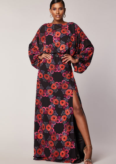 Virgos Lounge Floral Embellished Black Maxi Dress with Slit