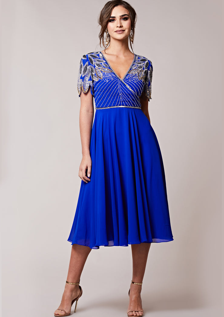 CUSTOM BRIDESMAID Ursula Midi Skater Blue