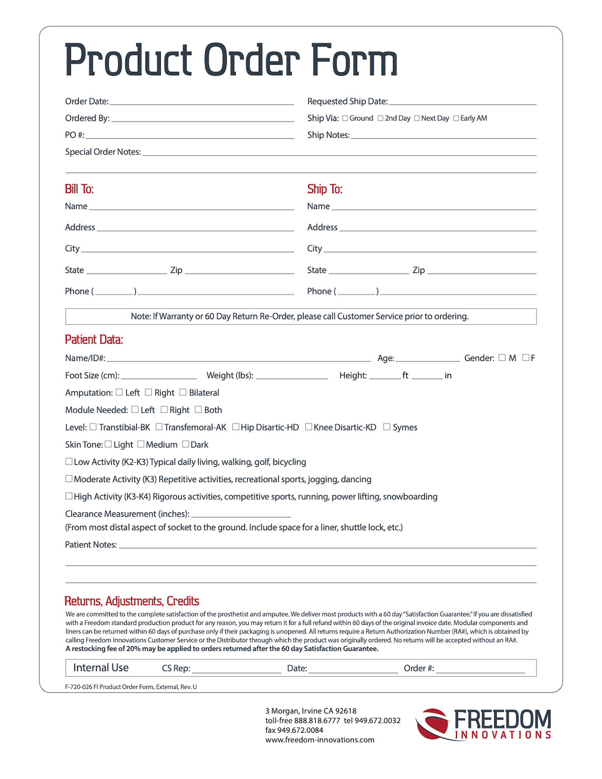 Freedom Innovations Product Order Form