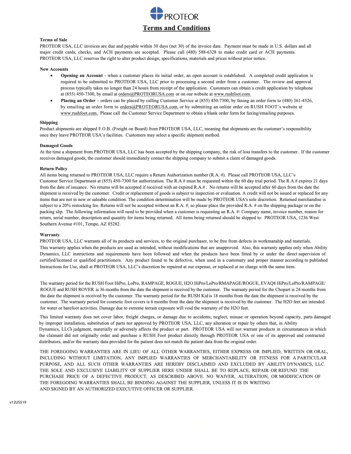 PROTEORUSA terms and conditions