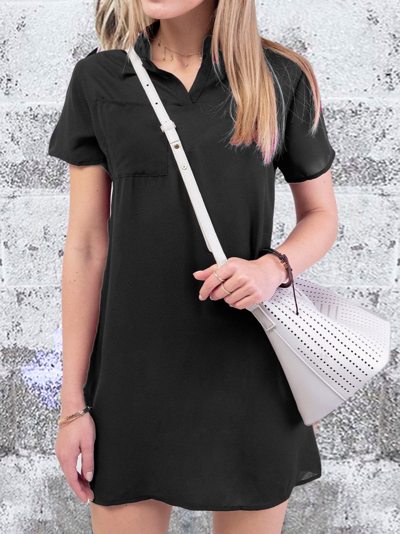 Women  Summer Dress Plus size Stand Collar  Shift  Daytime Casual Short Sleeve Pockets Plain