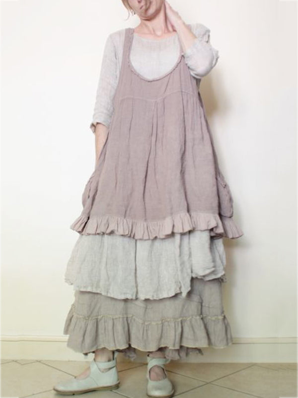 Light Purple Cotton Sleeveless Dresses