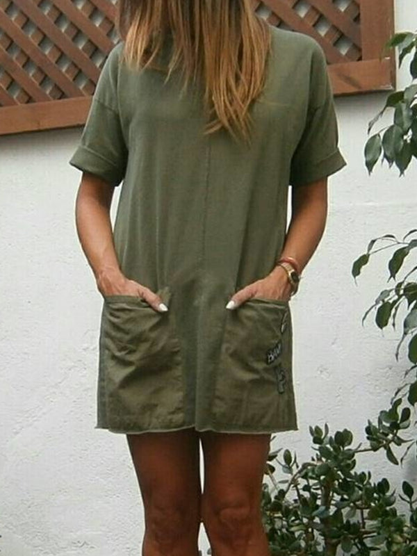 Casual Short Sleeve Pockets Dresses