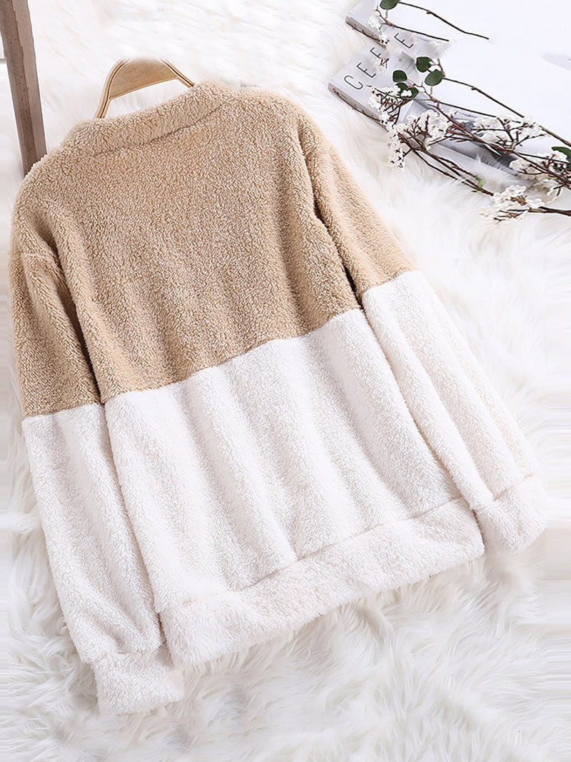 Womens Casual Cashmere Color-block Solid Coat