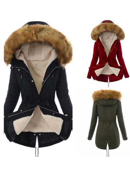 Furry Solid Color Hoodie Coat