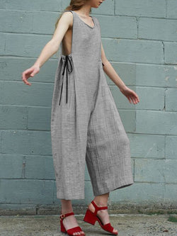 Vintage Women Sleeveless Casual Jumpsuit Playsuits