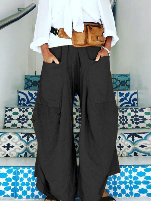 Women Loose Wide Legs Solid Pants