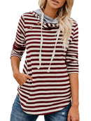 Casual Buttoned Stripes Asymmetric Mid-Weight Hoodies