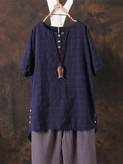 Plus Size Short Sleeve Plaid Casual Crinkled Linen Blouse