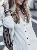 White Buttoned Pockets Shirt Collar Solid Tunic Long Shirts