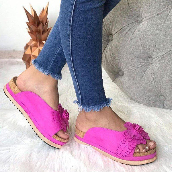 Women Casual Summer Flower Slip On Sandals