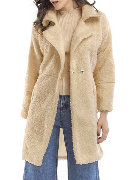 Paneled Long Sleeve Shawl Collar Solid Coat