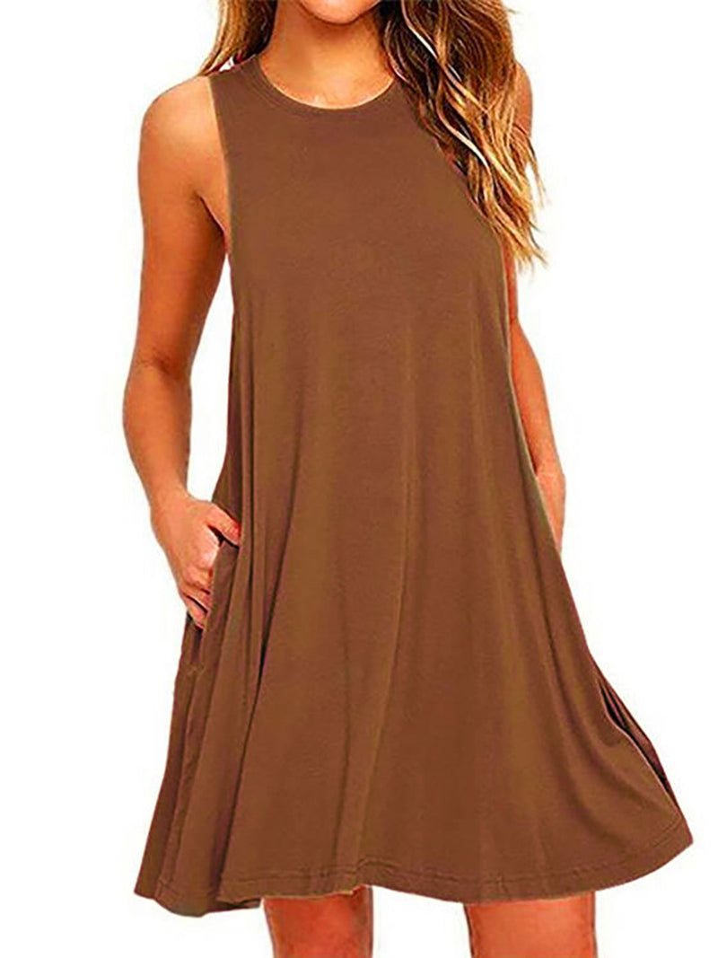 Daily Casual Shift Crew Neck Solid Sleeveless Dress