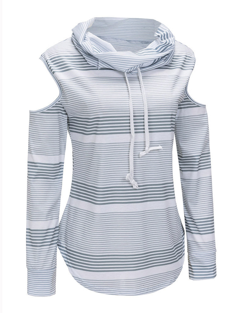 Gray Stripes Drawstring Simple & Basic Cowl Neck Pullover Jumper Sweatshirts