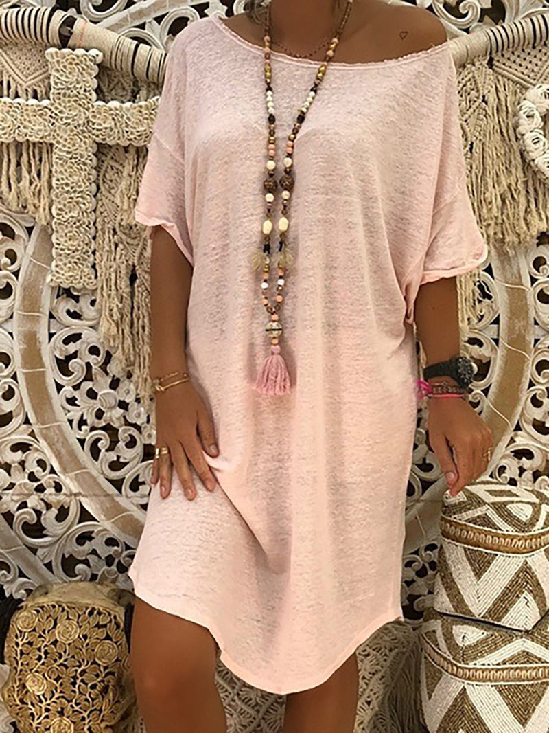 Plus Size Short Sleeve Crew Neck Casual Midi Dress