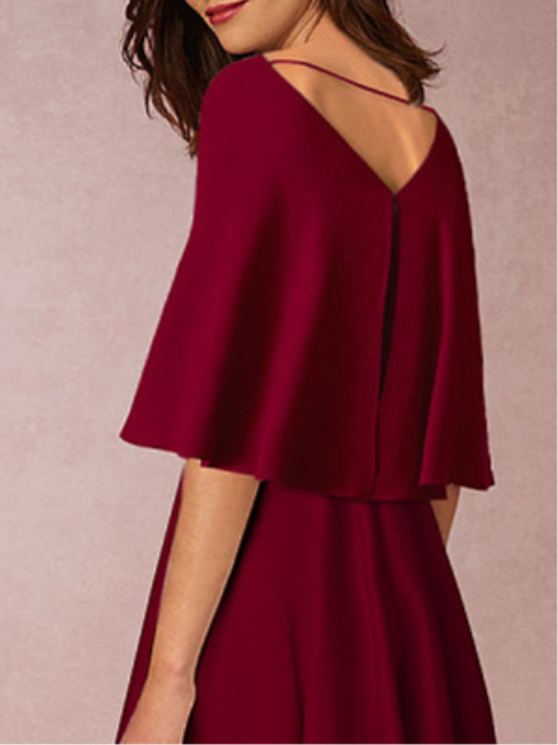 Plus Size Burgundy Cape Sleeve Elegant Solid Midi Dress