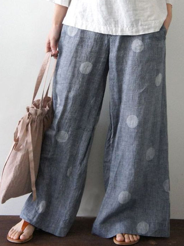 Polka Dots Casual Cotton-Blend Pants