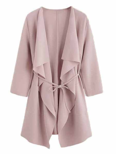 Shawl Collar Solid Cotton Long Sleeve Plus Size Trench Coat