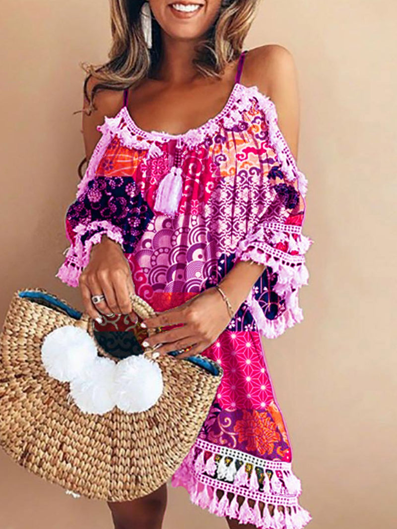 Floral Print Tassel Half Sleeve Off Shoulder Casual Dresses