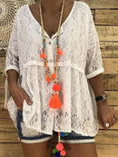 Plus Size V-neck Solid Half Sleeve Lace Casual Blouse