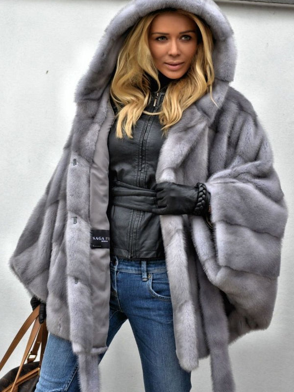Gray Faux Fur Solid Long Sleeve Hoodie Coat