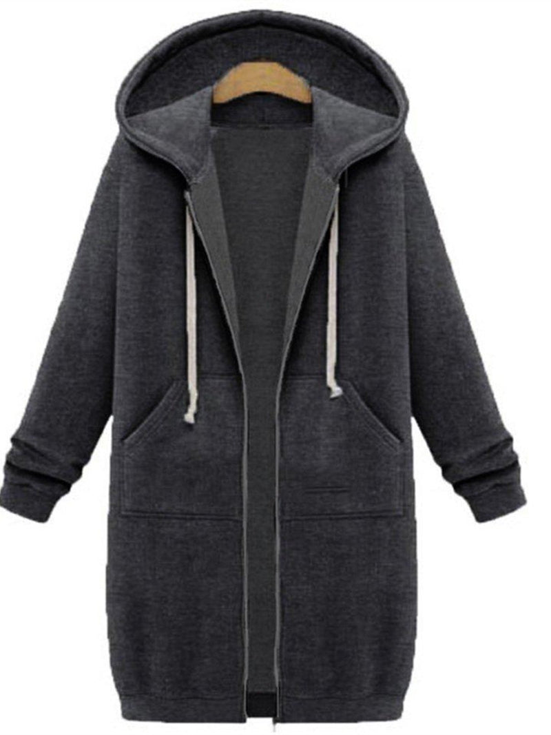 Deep Gray Shift Plain Pockets Casual Coats