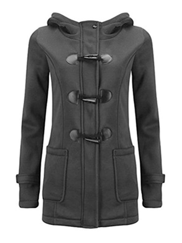 Hoodie Button Zipper Coat