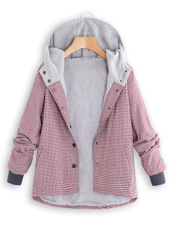 Pink Casual Plaid Pockets Cotton Coat
